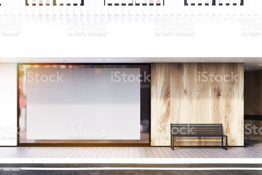 Shop window, poster, bench, white, toned stock photo