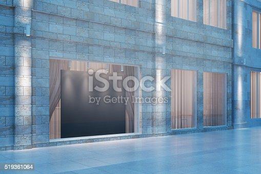 istock Shop window with a black empty billboard, mock up 519361064