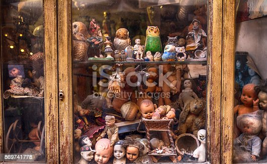 Vintage store window with old toys.