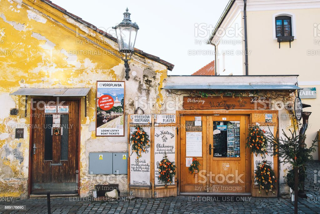 Shop windows in Cesky Krumlov, details of the exterior of the town stock photo