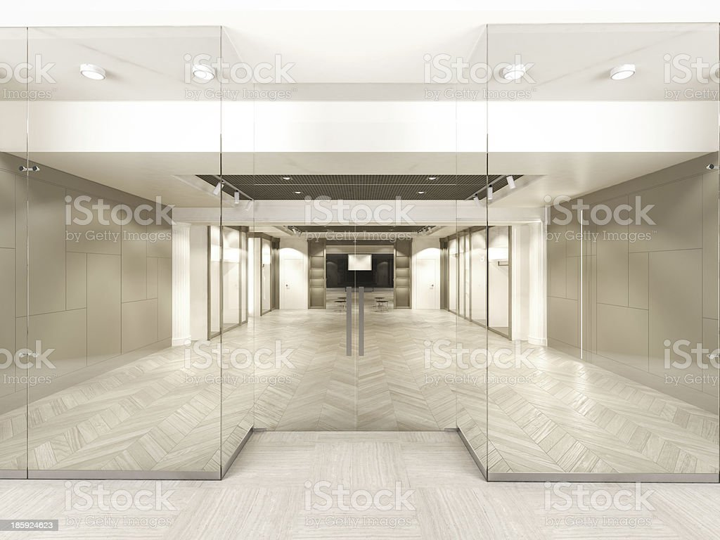 Shop with glass windows and doors stock photo