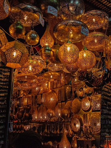 994119256 istock photo Shop with lamps in the market in the Medina of Marrakech 1257555933