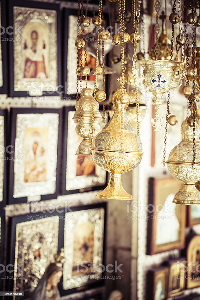 Shop with religion souvenir at the old city of Jerusalem royalty-free stock photo