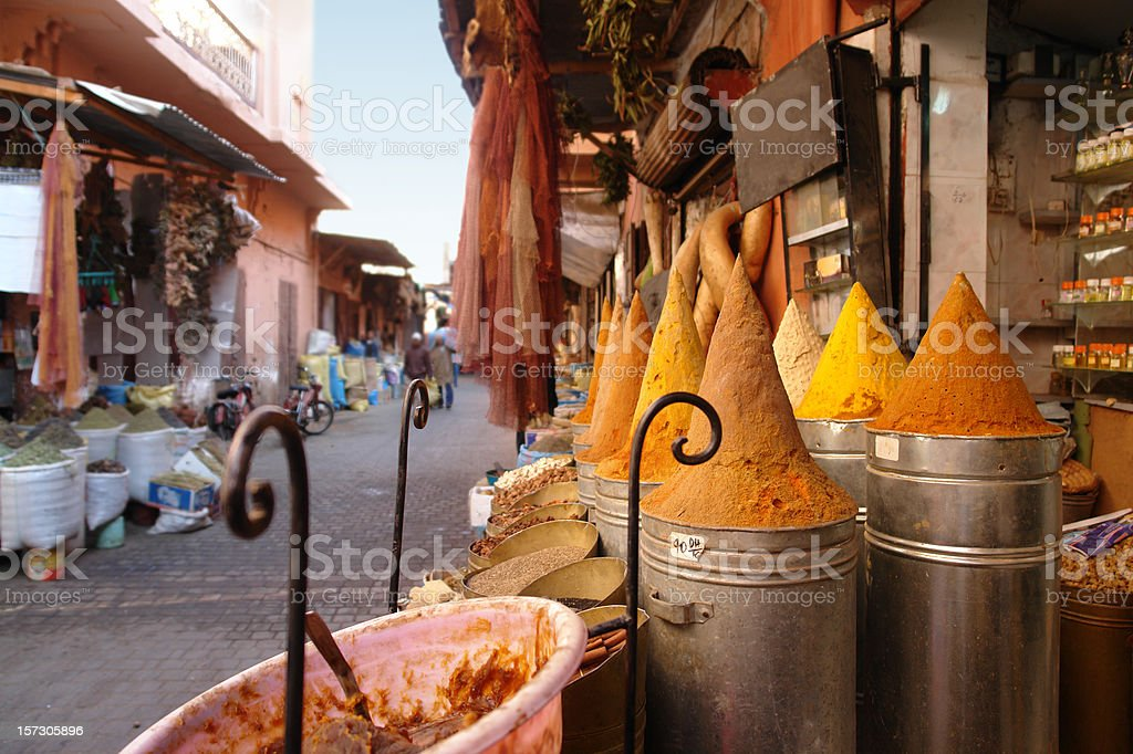 Shop with Spices on the Street in Marrakesh stock photo