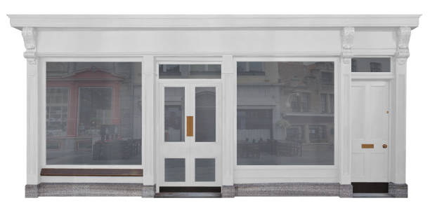 shop with white painted wooden front cut-out on white background - store window stock pictures, royalty-free photos & images