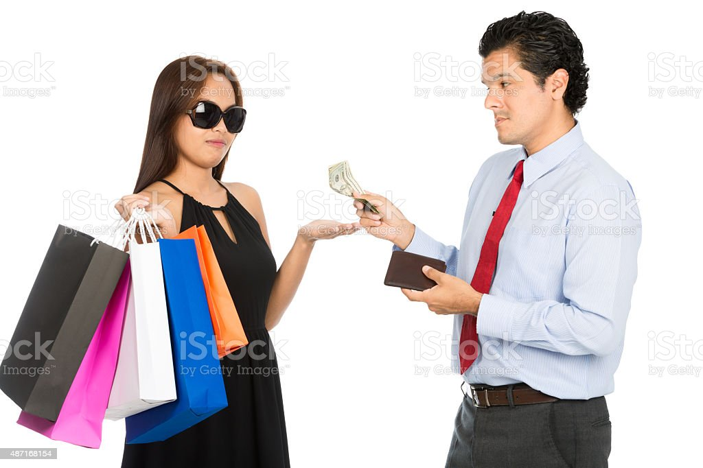 Shopaholic Wife Palm Out Money Reluctant Husband stock photo