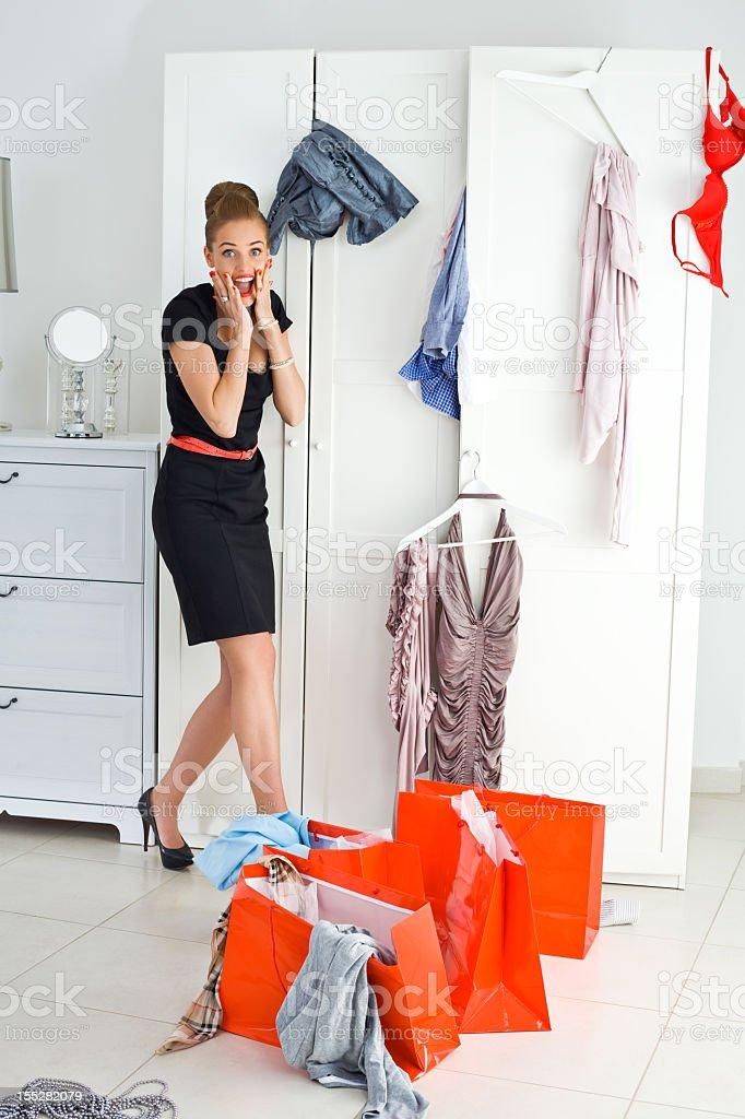 Shopaholic's problem stock photo