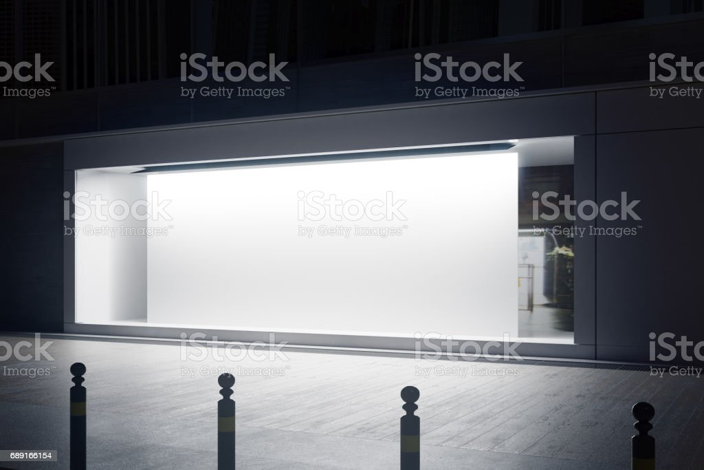 Shopfront with white billboard side stock photo