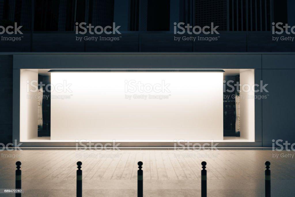 Shopfront with white poster stock photo