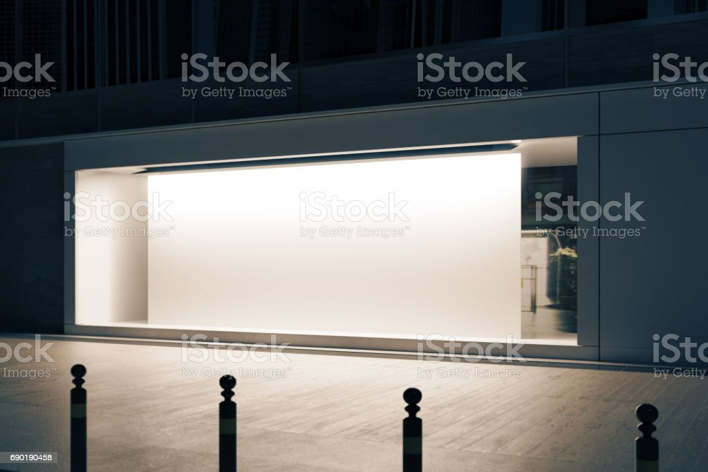 Shopfront with white poster side stock photo