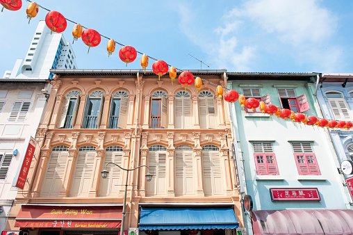 Shophouse facade, Temple Street, Chinatown, Outram, Singapore, Malaysia