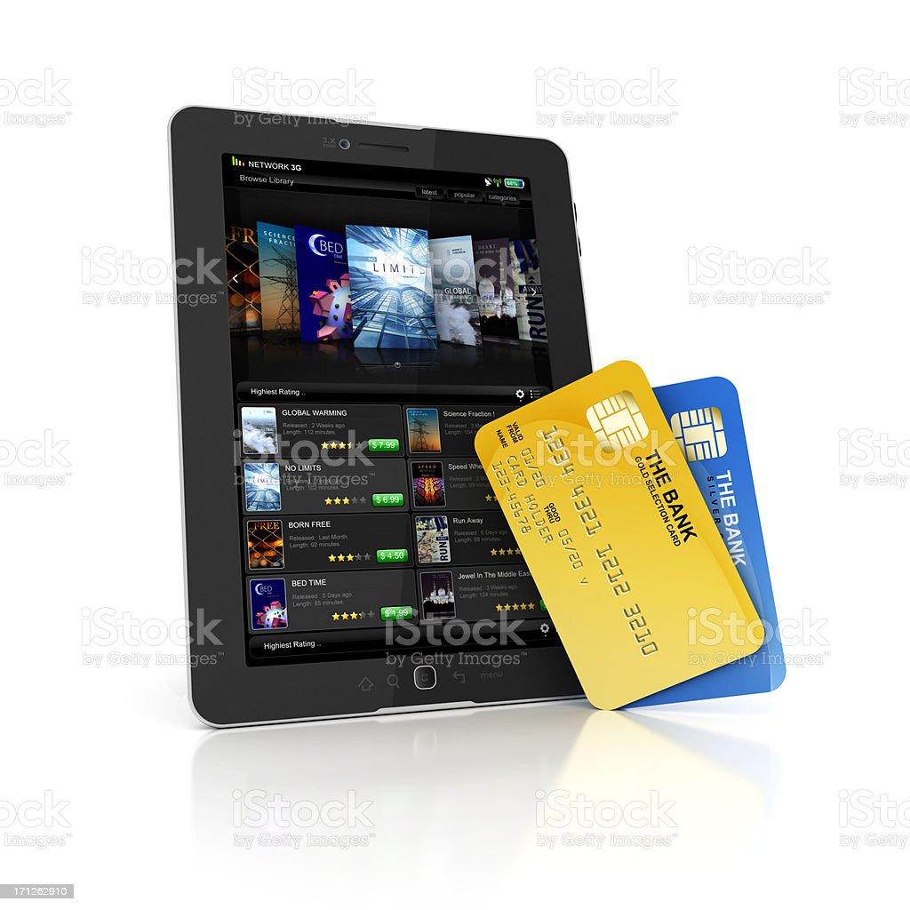 shoping or paying online with card stock photo