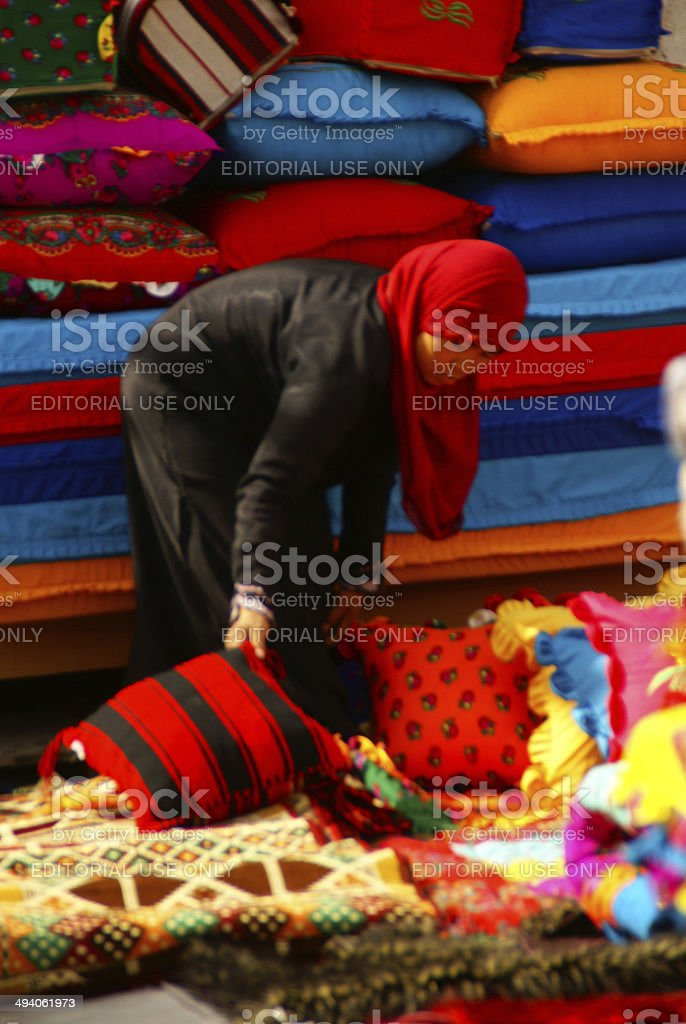 Shopkeeper at Souq Waqif,Doha stock photo