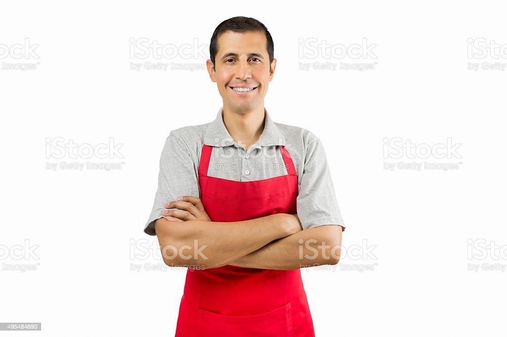 shopman smiling stock photo