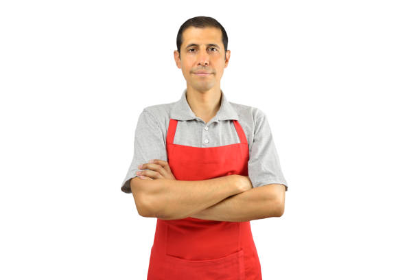 shopman smiling portrait of shopman isolated on white background grocer stock pictures, royalty-free photos & images