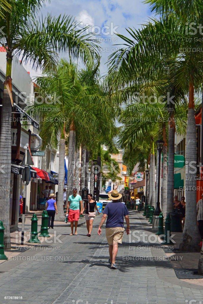 Shoppers along Front Street in Philipsburg on Dutch side of St Maarten stock photo