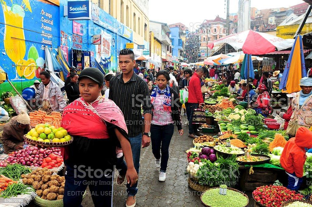 Shoppers and sellers at Analakely Market, Antananarivo stock photo