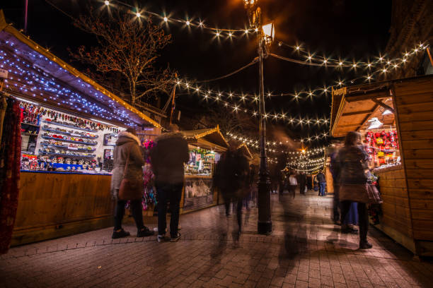 Shoppers at Christmas Markets stock photo