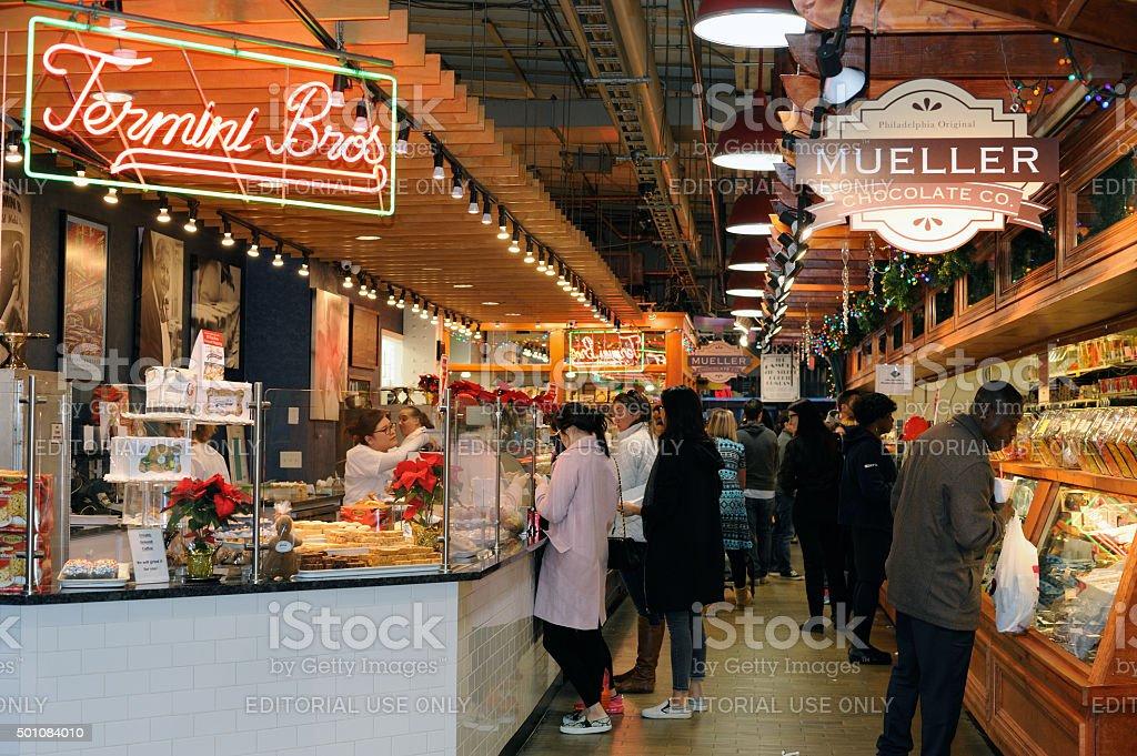 Shoppers at Reading Terminal Market in Philadelphia stock photo