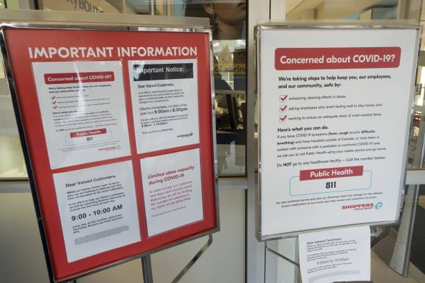 Shoppers Drug Mart Entrance with COVID-19 Warning Signs stock photo