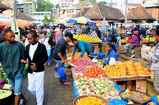 Shoppers in Analakey Market, Antananarivo stock photo