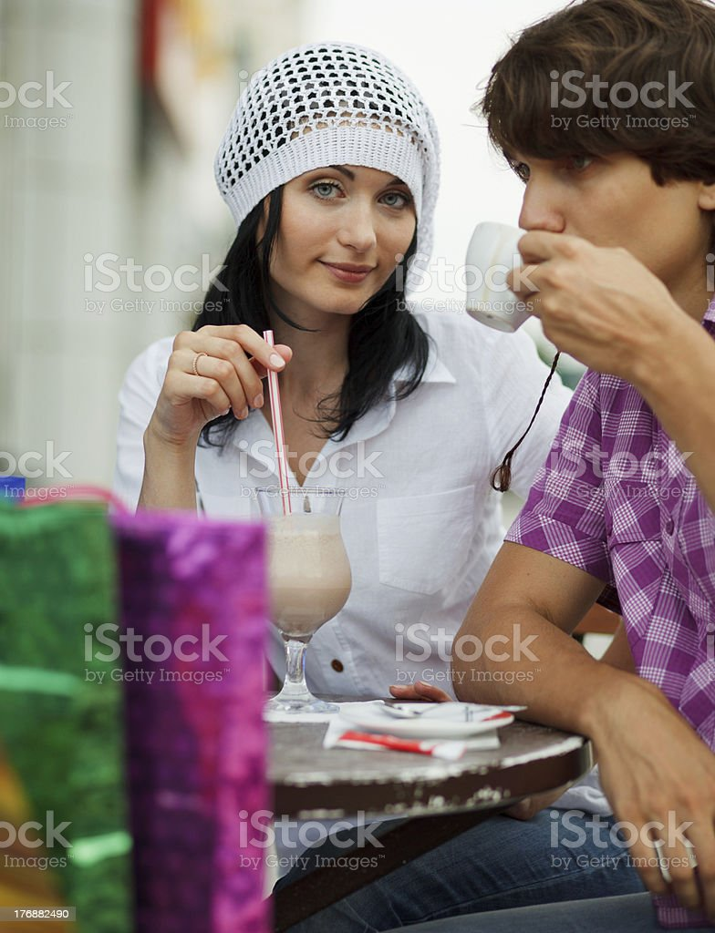Shoppers in cafe royalty-free stock photo