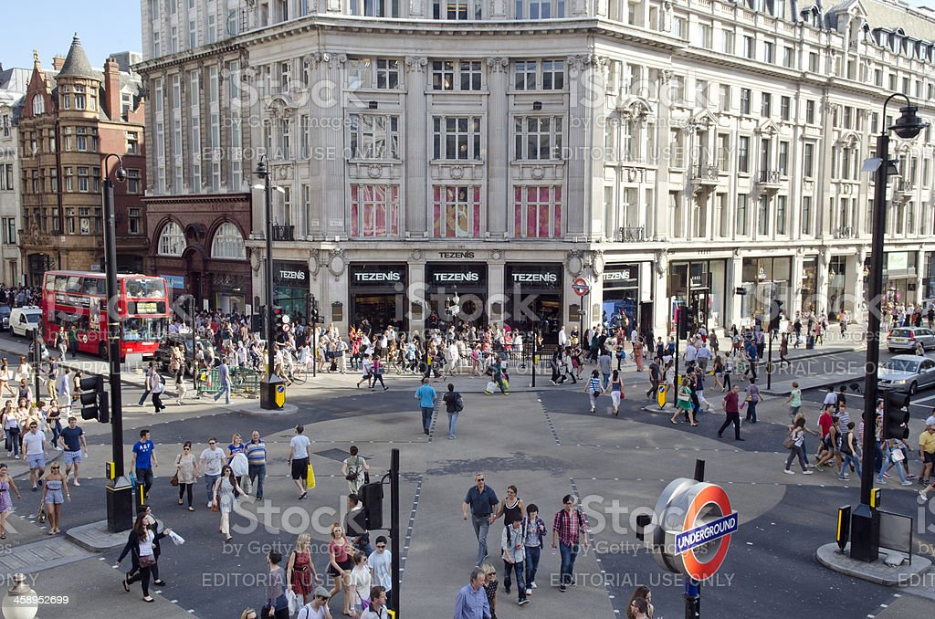 Shoppers in Oxford Circus, London stock photo