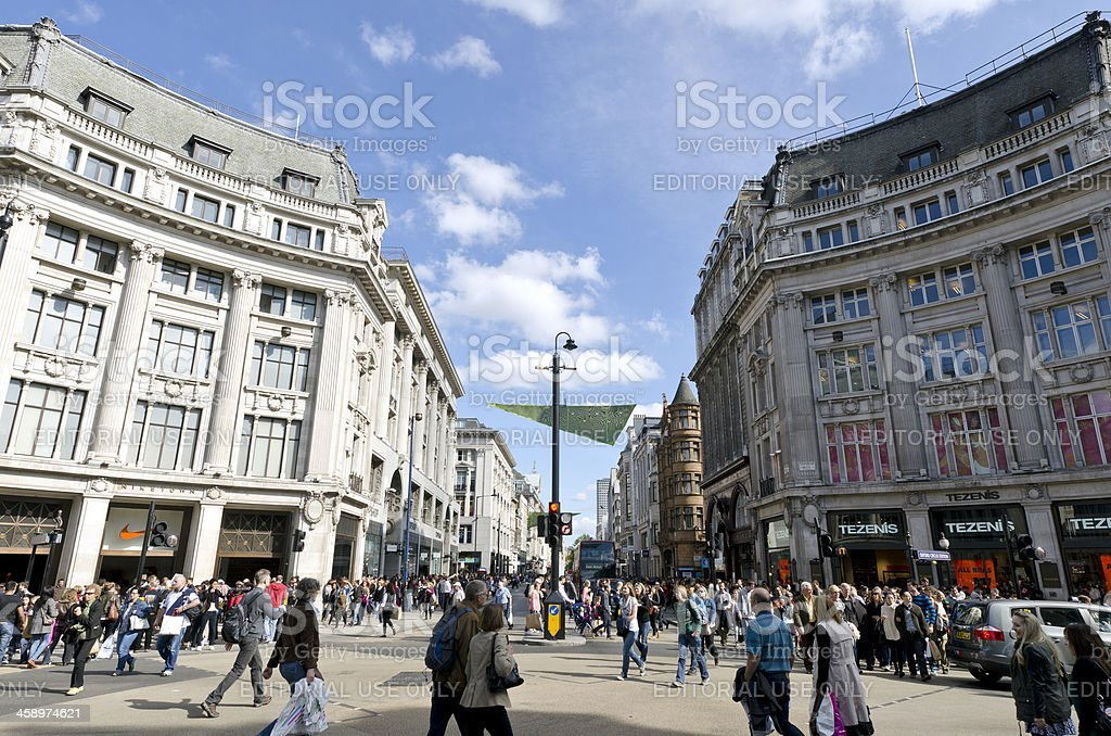 Shoppers in Oxford Street, London royalty-free stock photo