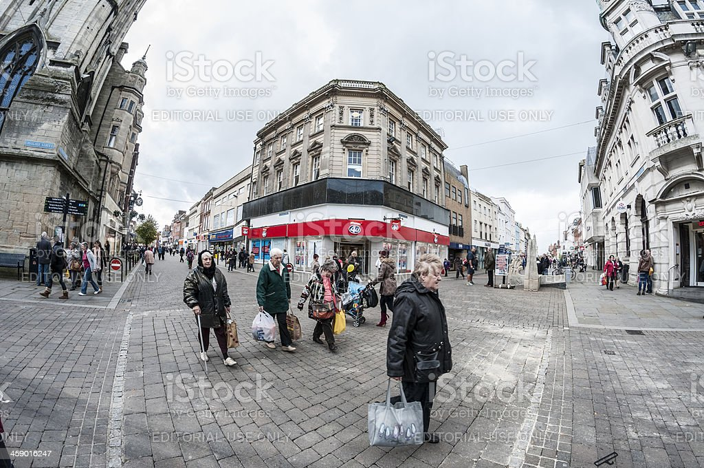 Shoppers On A Busy City High Street royalty-free stock photo