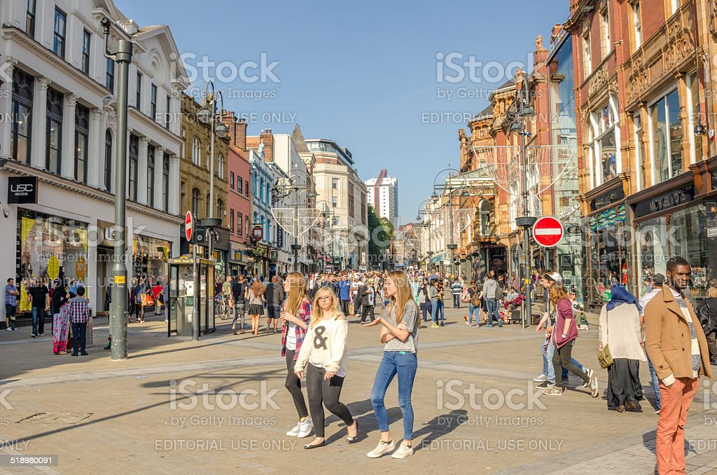 Shoppers on Briggate Street, Leeds stock photo