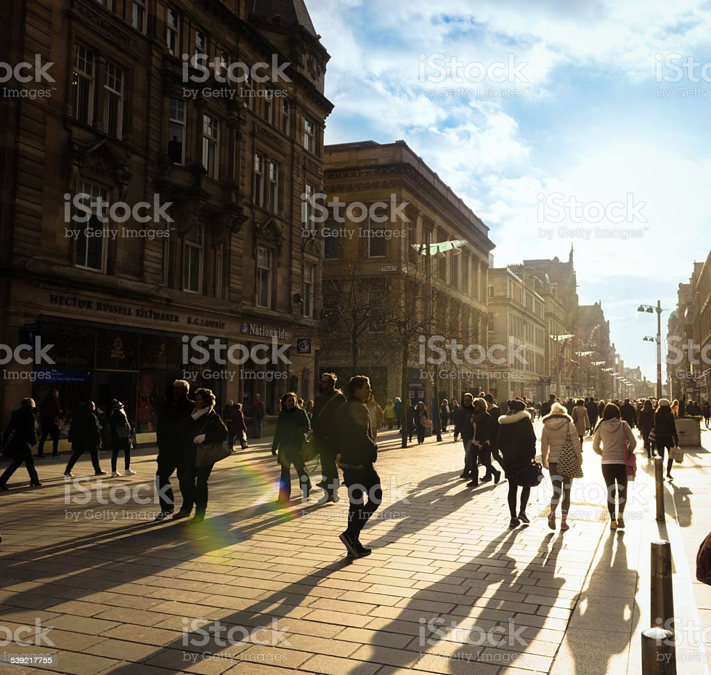 Shoppers on Buchanan Street in Glasgow stock photo