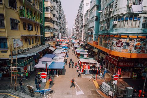 Shoppers Stroll Along Mong Kok Market Hongkong Stock Photo - Download Image Now