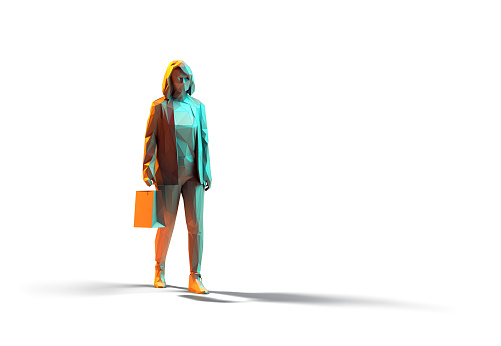 Shopping 3d render concept. Unrecognisable woman walks with shopping bag. Isolated on white background