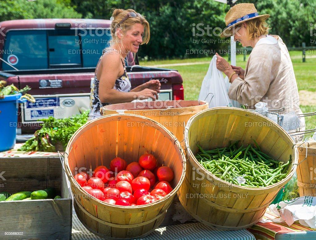 Shopping a Farmer's Market stock photo