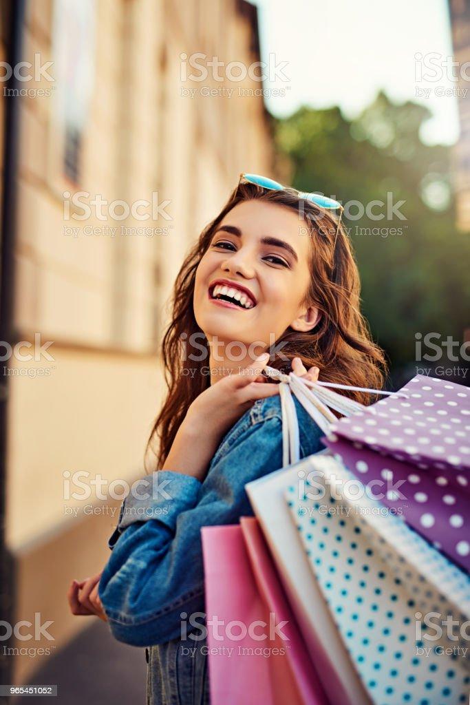 Shopping always makes me feel cheerful zbiór zdjęć royalty-free