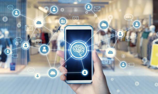 shopping and communication network concept. - człowiek maszyna zdjęcia i obrazy z banku zdjęć