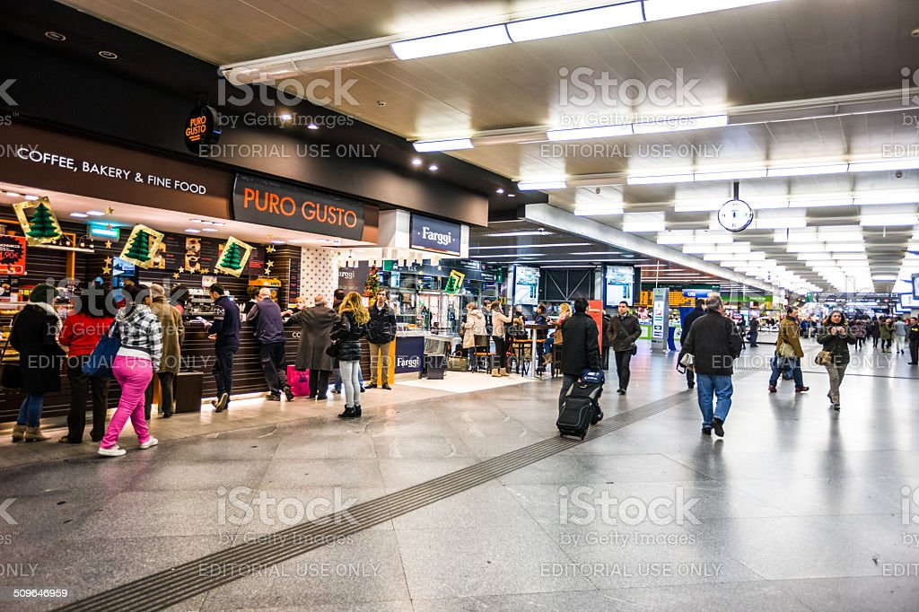 Shopping and food court at Madrid Atocha Train Station stock photo