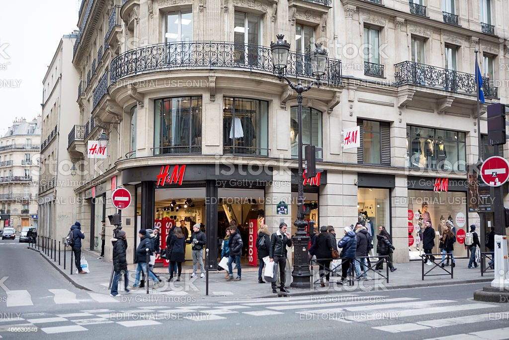 Shopping and H&M Store Front in Paris, France stock photo