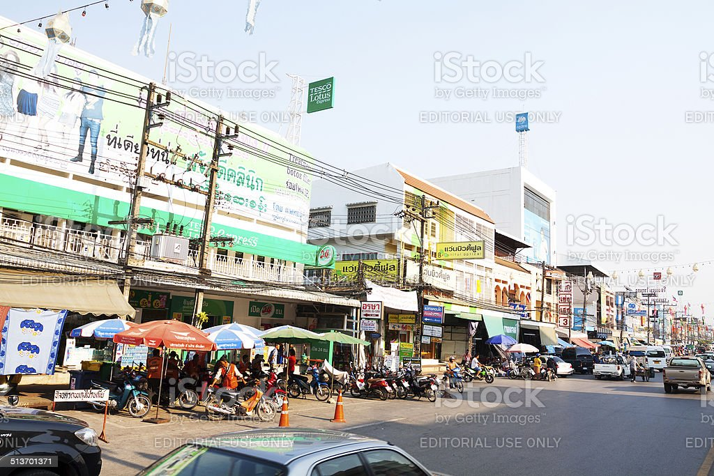 Shopping and stores at border to Myanmar stock photo