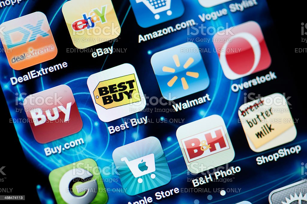 Shopping Applications on Iphone stock photo
