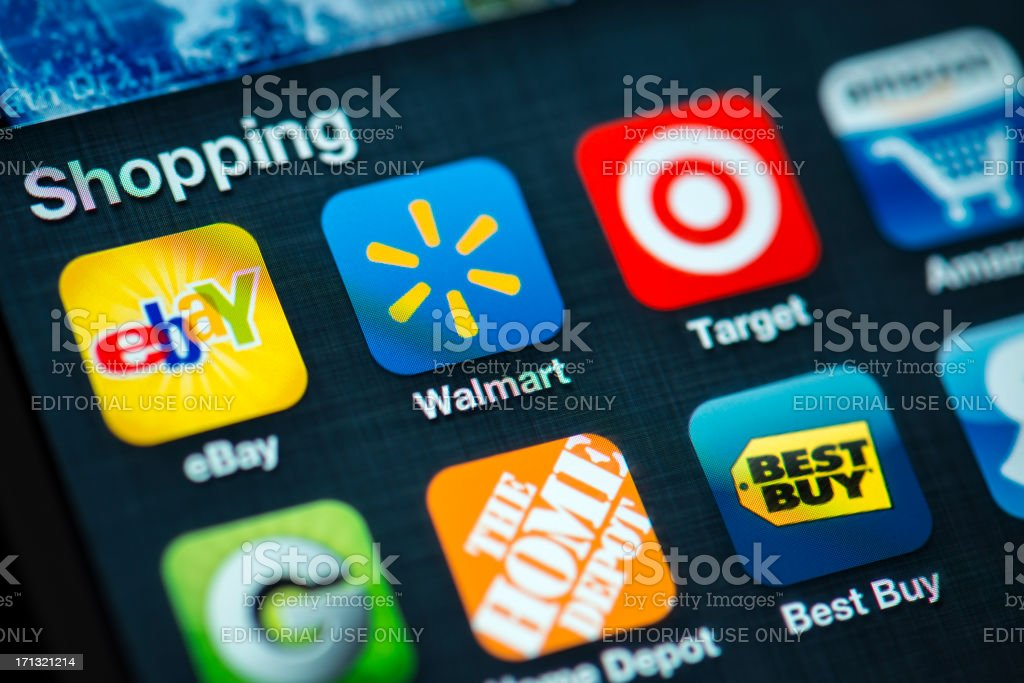 Shopping Apps on Apple iPhone 4s Screen stock photo