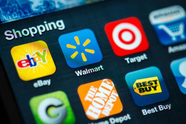 магазины apps на apple iphone 4s экран - walmart стоковые фото и изображения