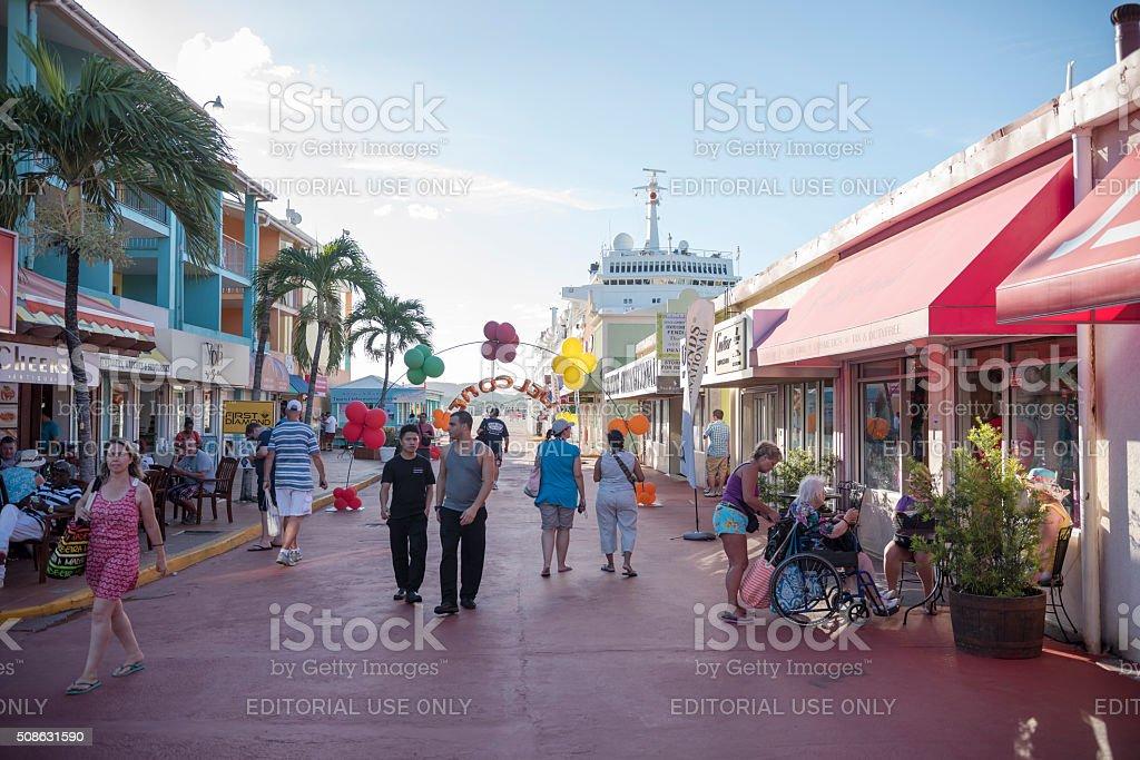 Shopping area in port of St. John's, Antigua stock photo