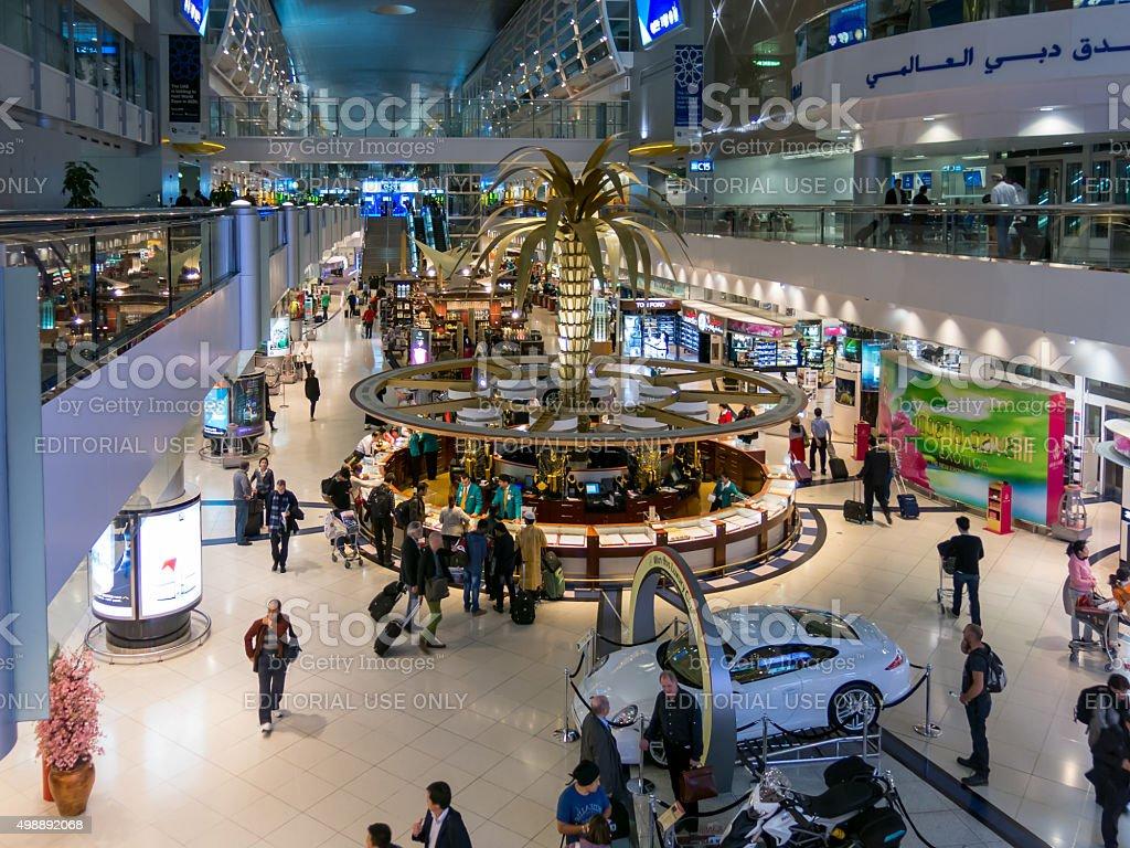 Shopping area in terminal of Dubai International Airport stock photo