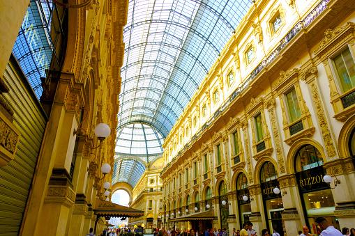 Shopping art gallery Vittorio Emanuele in Milan, Italy.