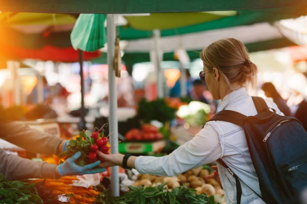 Shopping at Farmers' market stock photo