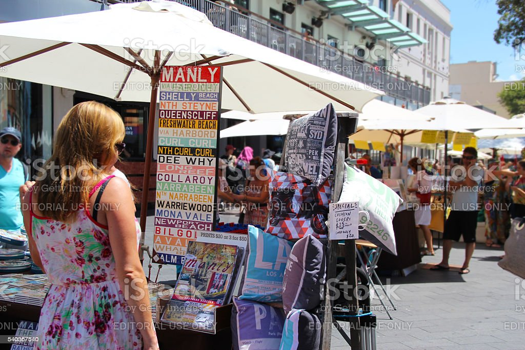 Shopping at Manly Markets stock photo