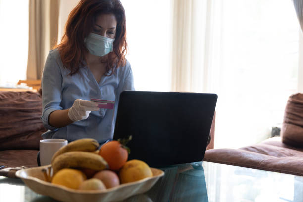 Shopping at quarantine time; detention after infection. stock photo