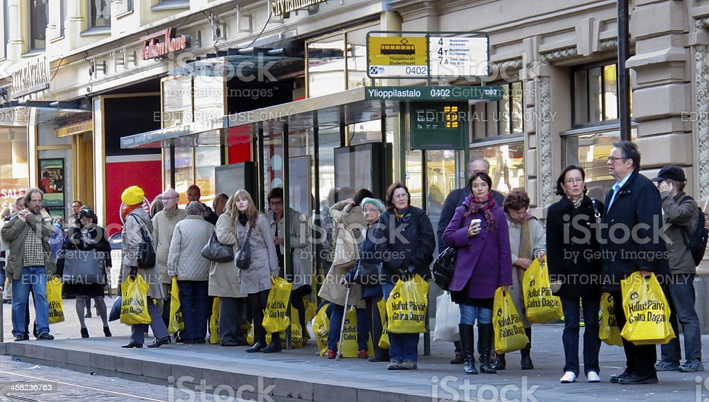 Shopping at Stockmann's Crazy Days sales stock photo