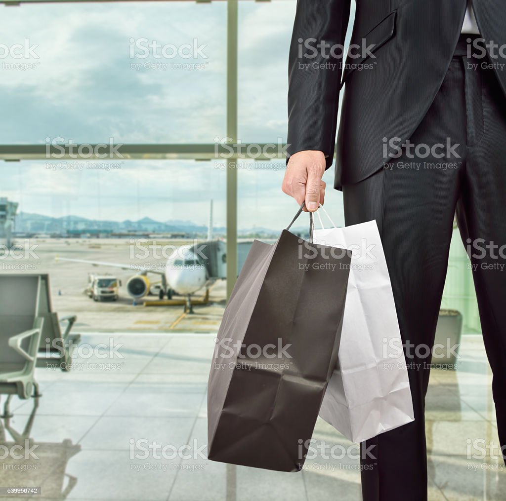 Shopping at the airport stock photo